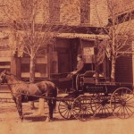 Henry Wedekindt senior's first undertaker's wagon with Henry Jr. on seat 1887